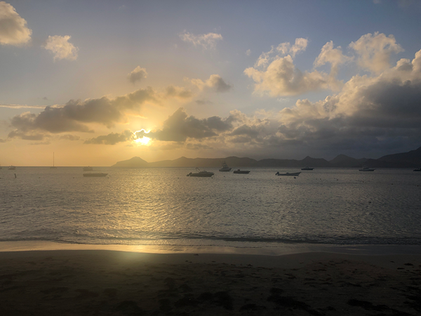 A blue and gold sunset in Nevis