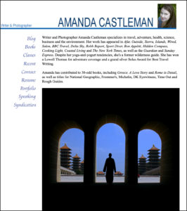 A screen grab of instructor Amanda Castleman's portfolio. The photo shows a Taiwanese monk framed by three silhouetted archways with temples in the background