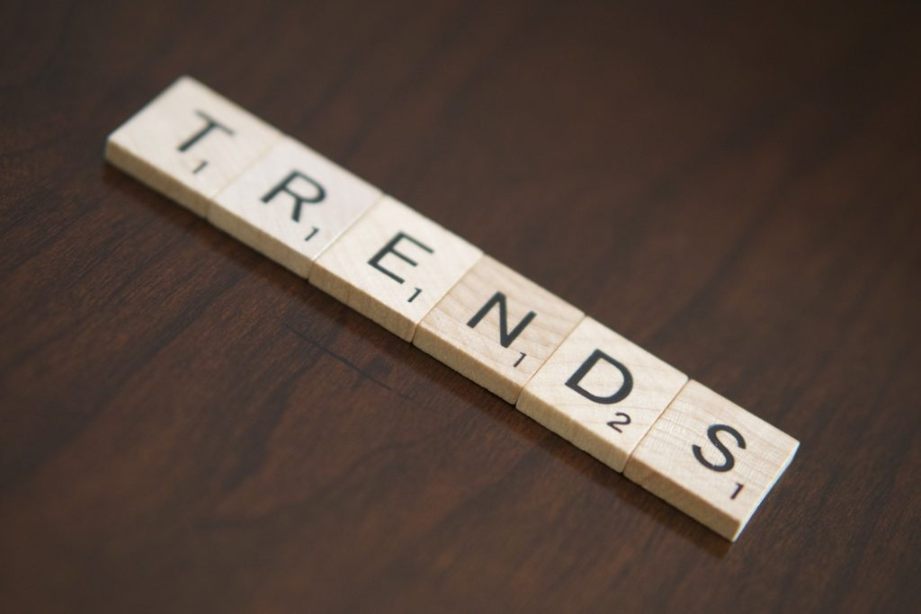 """A diagonal row of Scrabble tiles spelling out """"trends"""""""